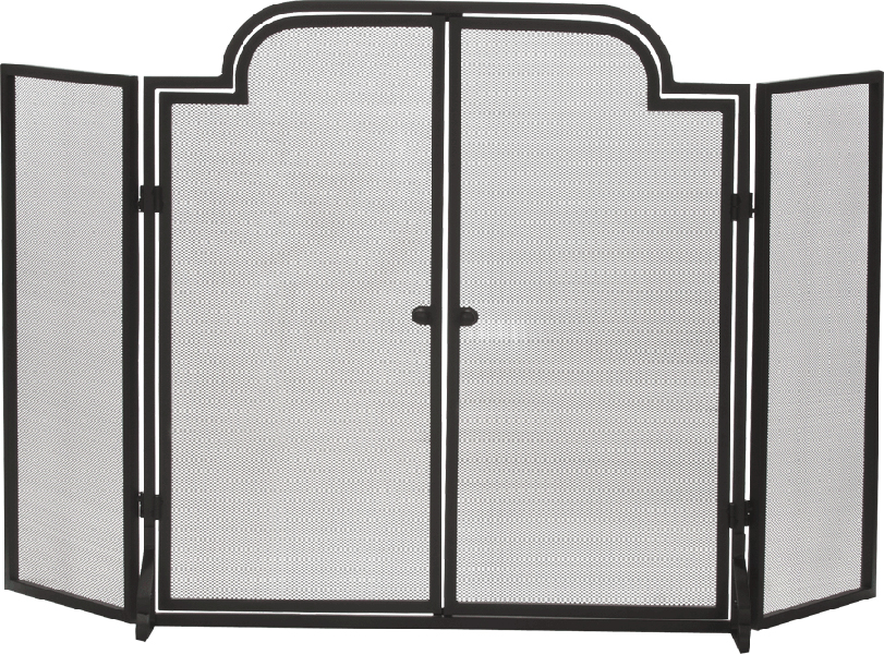 Three Fold Arched Black Wrought Iron Fireplace Screen With Doors Hamiltons Fireplace